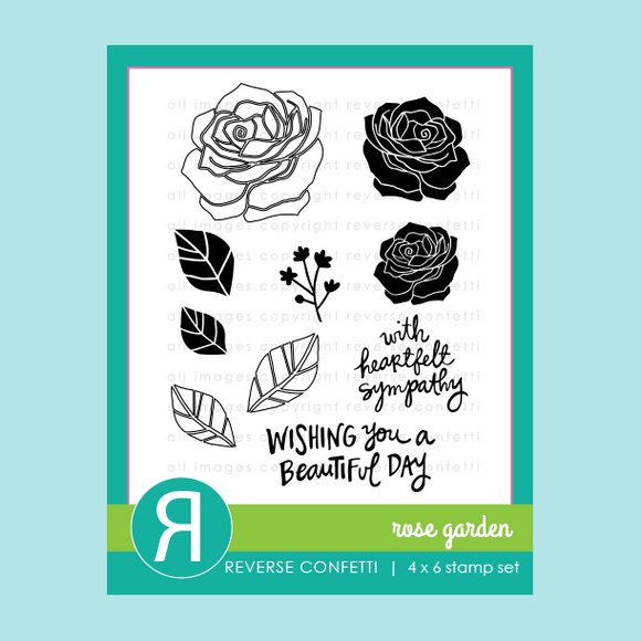 Reverse Confetti Rose Garden Clear Stamp