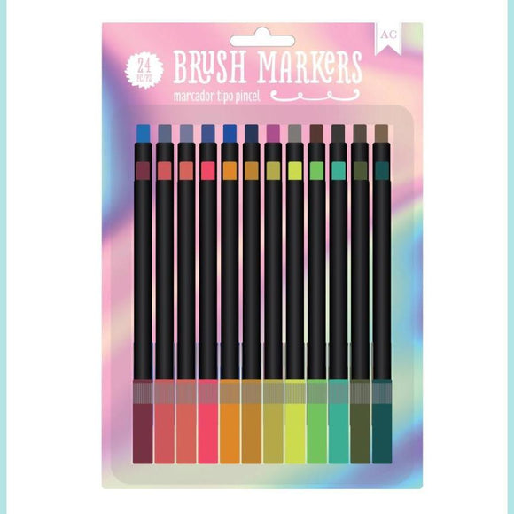 American Crafts - Brush Markers - Rainbow Mist 24 pc