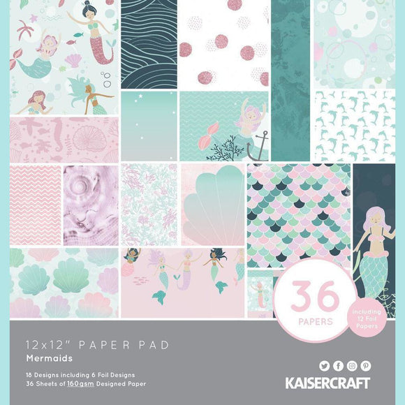 KaiserCraft - 12x12 Paper Pad - Mermaids 36 papers