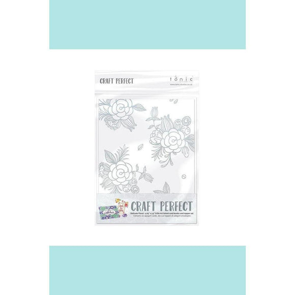 Tonic Studio - Craft Perfect - Foiled Card Blanks - Delicate Floral Set - Silver