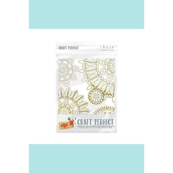 Tonic Studio - Craft Perfect - Foiled Card Blanks - Intricate Henna Set Gold