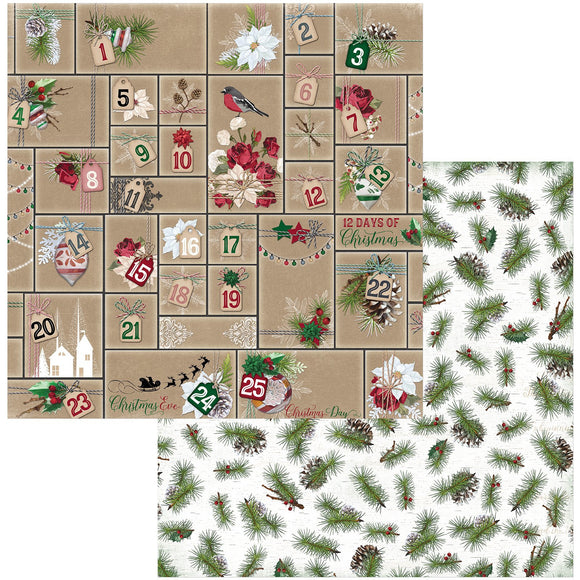 BoBunny - Joyful Christmas Patterned Paper  - 12 X 12 - Advent