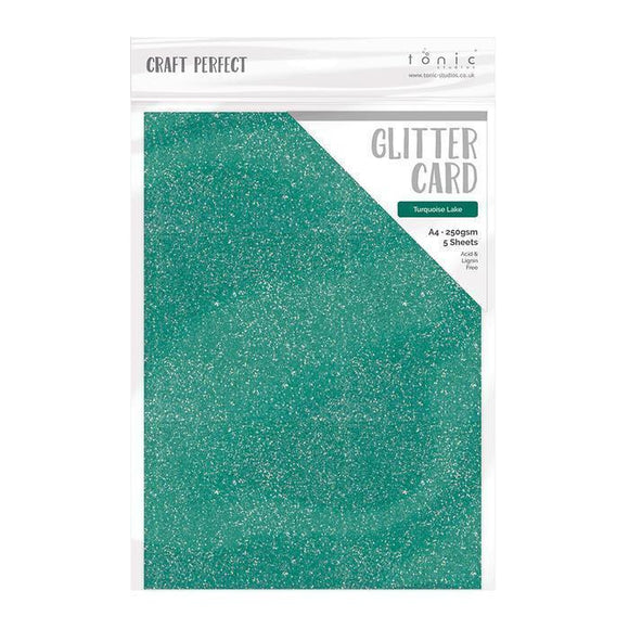 Tonic Studios - Merry and Bright Collection - Craft Perfect - Glitter Card - Turquoise Lake - A4 (5/Pk)