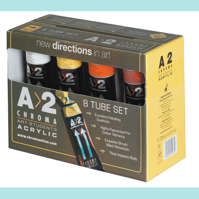 Chroma - A2 Student Acrylic Paints 120ml 8 tube set