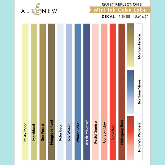 Altenew - Quiet Reflections Mini Ink Cube Labels Decal Set - Mini