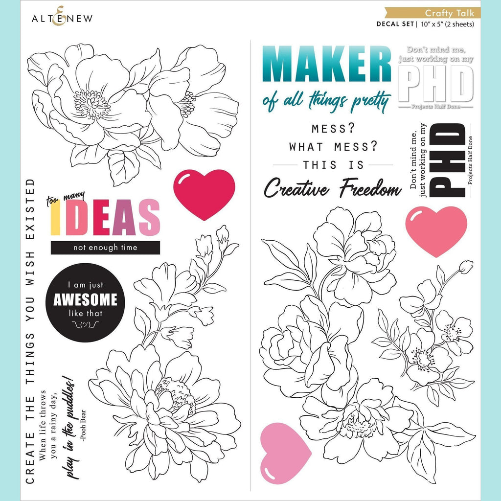 Altenew - Crafty Talk Decal Set - Small (2 sheets)