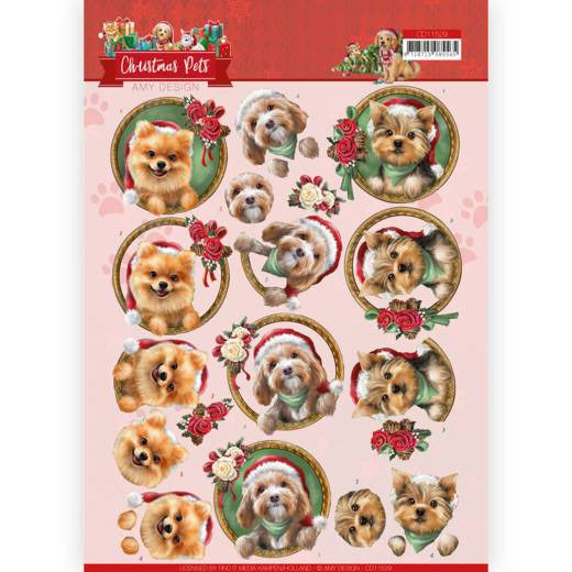 Amy Design - 3D Cutting Sheet - Christmas Pets - Christmas dogs