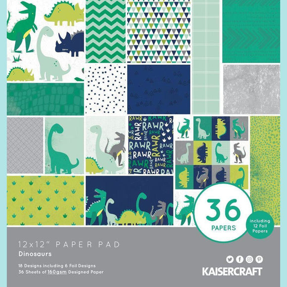KaiserCraft - 12x12 Paper Pad - Dinosaurs  36 papers