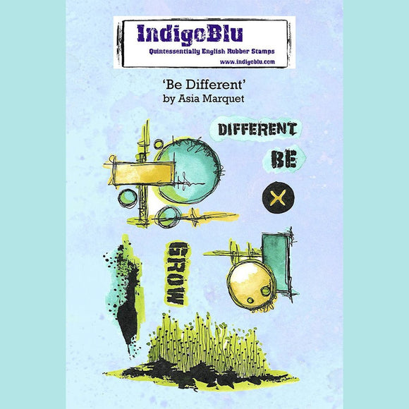 IndigoBlu - Be Different A6 Red Rubber Stamp by Asia Marquet