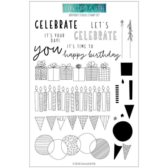Concord & 9th - Birthday Stacks Stamp Set and Dies