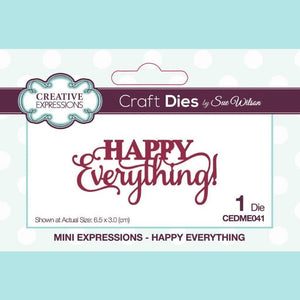 Creative Expressions - Mini Expressions Dies - By Sue Wilson - Happy Everything