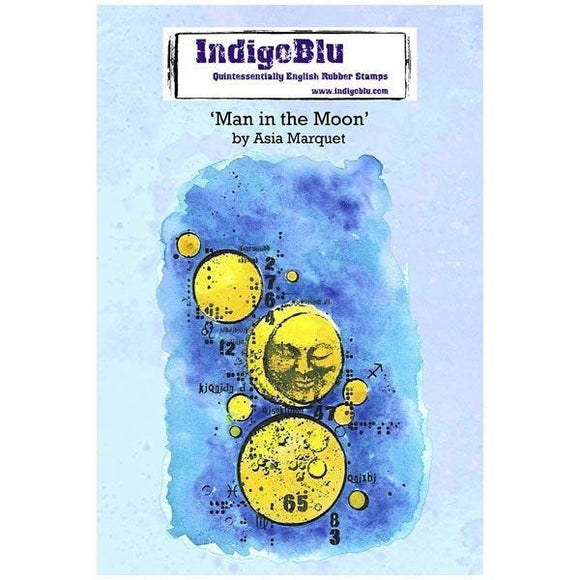 IndigoBlu - Man In The Moon Red Rubber Stamp Set by Asia Marquet