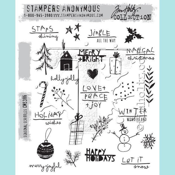 Stampers Anonymous - Tim Holtz Cling Mount Stamps - Seasonal Scribbles