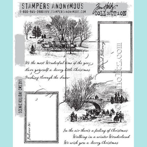 Copy of Stampers Anonymous - Tim Holtz Cling Mount Stamps - Scenic Holiday