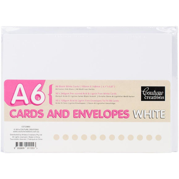 Couture Creations - Card + envelope set - White - A6 (50 Sets)