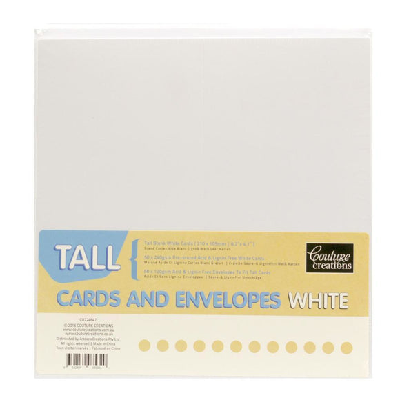 Couture Creations - Card + Envelope Set - White Tall