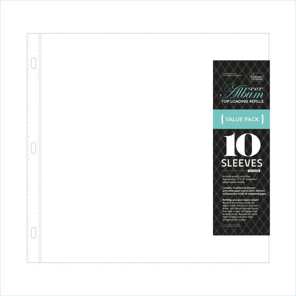"Couture Creations - Album Refills - Standard 12"" x 12 "" (10 pcs - White Paper Insert)"