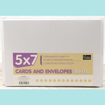 Couture Creations Card + Envelope Pack - White 5x7 (50 sets)