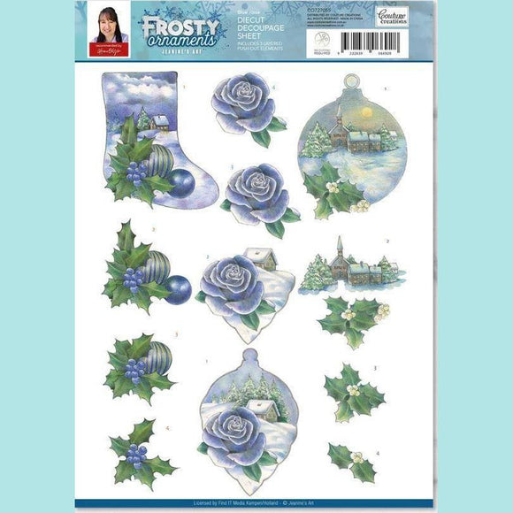 Couture Creations - 3D Diecut Decoupage Set - Frosty Ornaments Blue Rose