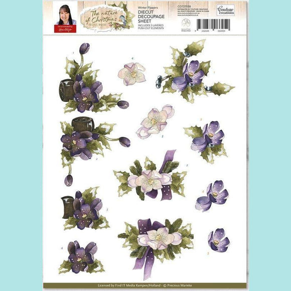 Couture Creations - 3D Diecut Decoupage Set - Precious Marieke The Nature of Christmas Winter Flowers