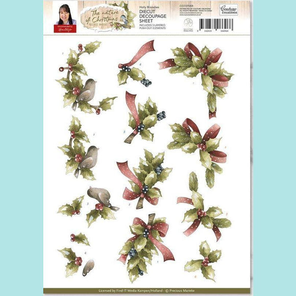 Couture Creations - 3D Diecut Decoupage Set - Precious Marieke The Nature of Christmas Holly Branches