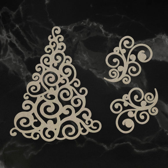 Couture Creations - Chipboard - Naughty or Nice Christmas Collection - Swirling Christmas Tree (3pc)