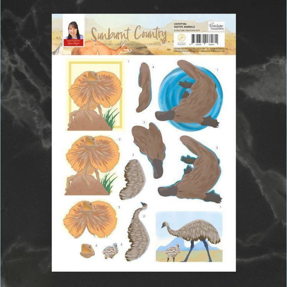 Couture Creatons - Sunburnt Country - Decoupage - A4 sheet - Native Animals P*