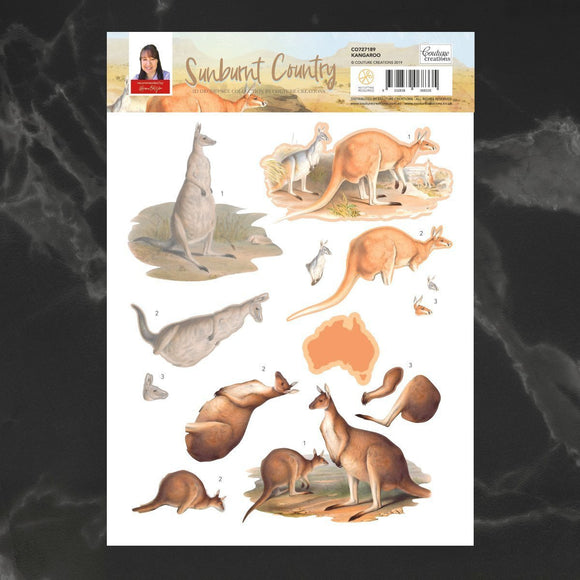 Couture Creations - Sunburnt Country - Decoupage - A4 sheet - Kangaroo P*