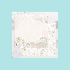 White Smoke Couture Creations - Peaceful Peonies - 12 x 12 in Double Sided Desinger Paper - Pkt/5
