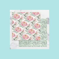 Light Pink Couture Creations - Peaceful Peonies - 12 x 12 in Double Sided Desinger Paper - Pkt/5