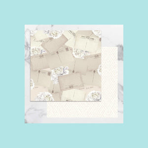 Antique White Couture Creations - Peaceful Peonies - 12 x 12 in Double Sided Desinger Paper - Pkt/5