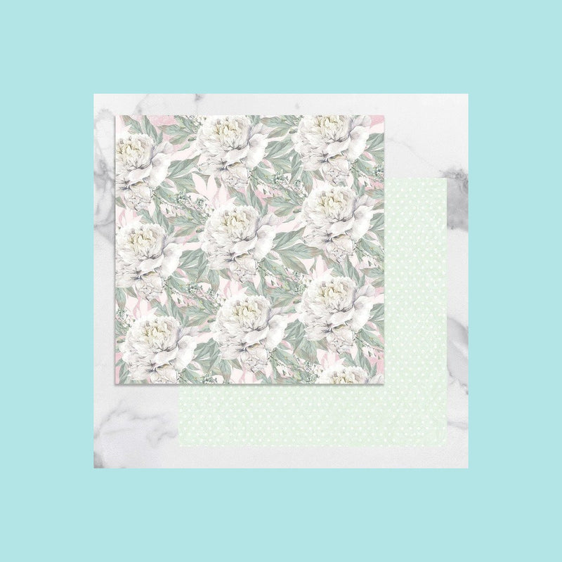 Beige Couture Creations - Peaceful Peonies - 12 x 12 in Double Sided Desinger Paper - Pkt/5