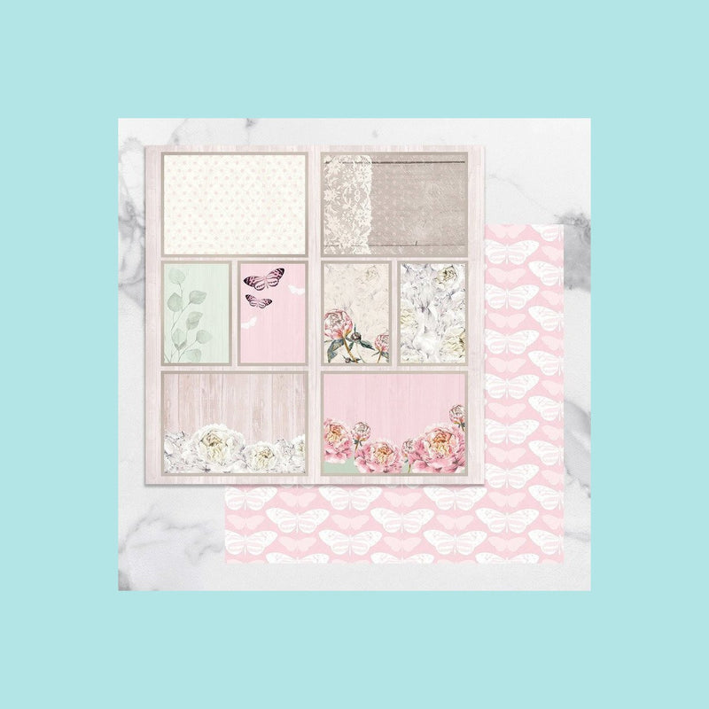 Misty Rose Couture Creations - Peaceful Peonies - 12 x 12 in Double Sided Desinger Paper - Pkt/5