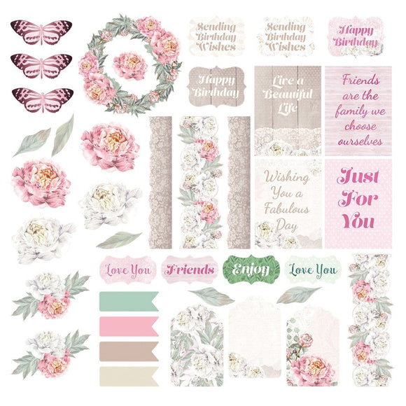 Couture Creations - Peaceful Peonies - Diecut Ephemera Set - 39pc