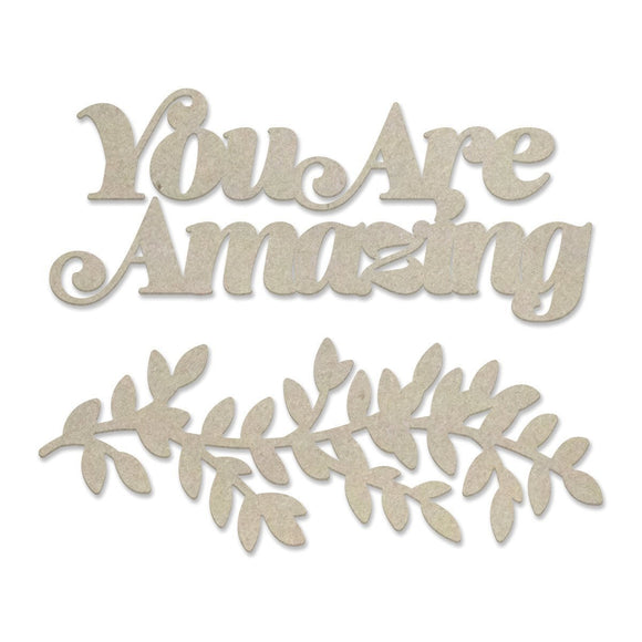 Couture Creations - Peaceful Peonies - Chipboard - You are Amazing (2pc)