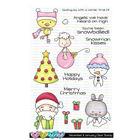 C.C. Designs - December & January Clear Stamp and Outline Die