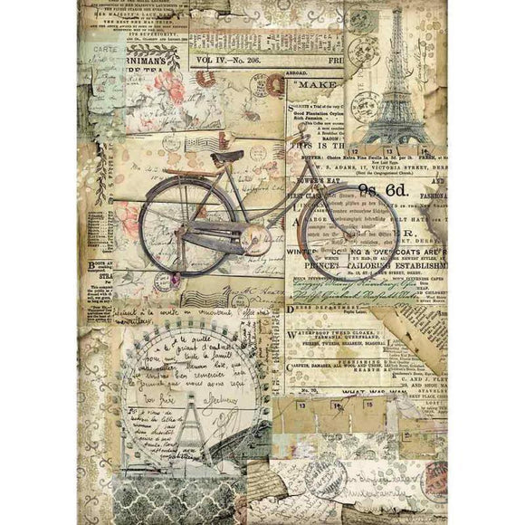 Stamperia - A4 Rice Paper Packed Bicycle