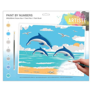 Docrafts Artiste - Large Painting By Numbers - Leaping Dolphins