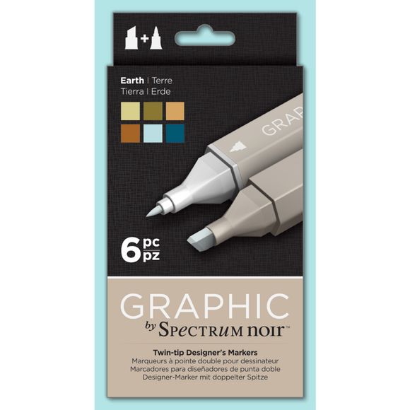 Spectrum Noir Dual Tip Alcohol Markers - Graphic - Earth 6 pack
