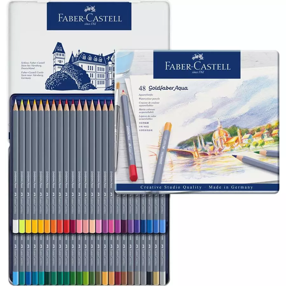 Faber-Castell - Goldfaber Aqua Watercolour Pencil - Tin of 48