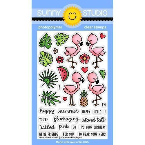Sunny Studio Stamps - Fabulous Flamingos - Stamp and Dies