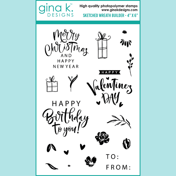 Gina K. Designs - Sketched Wreath Builder - Stamp Set