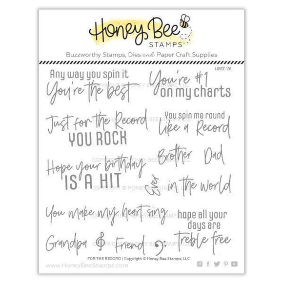 Honey Bee Stamps - For The Record Stamp and Die