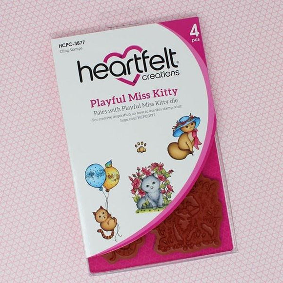 Heartfelt Creations - Playful Miss Kitty Cling Stamp Set