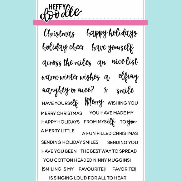 Heffy Doodle - Elfing Christmas Words Clear Stamp Set