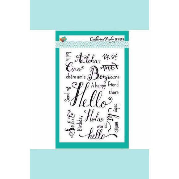 Catherine Pooler Hello World Stamp