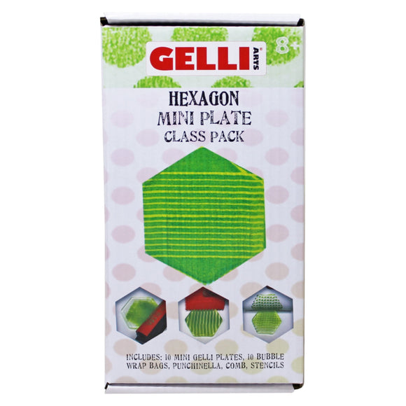 GELLI ARTS - Mini Plate Class Pack - Contains 10 Hexagon Shaped Mini Plates & Accessories