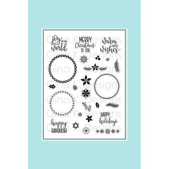 Gina K Holiday Wreath Builder Stamp