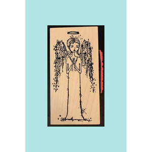 Stampotique - She Wears a Halo w/ words on the side - Wood Mounted Stamps