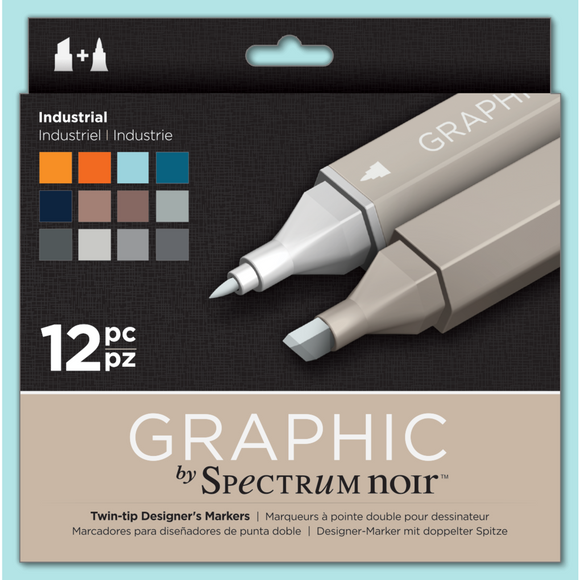 Spectrum Noir Dual Tip Alcohol Markers - Graphic - Industrial 12 pack